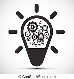 Bulb with Cogs - Gears. Vector Icon.