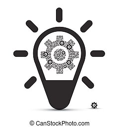 Bulb with Cogs - Vector