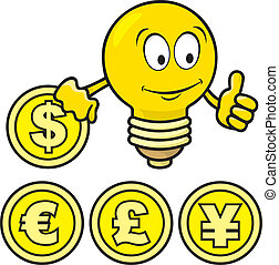 Cartoon of smiling bulb giving thumbs up and holding a coin.