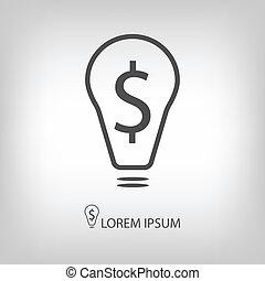 Bulb with dollar as business idea sign