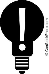 Bulb with exclamation mark inside icon simple - Light bulb...