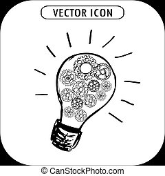 bulb with gears icon,