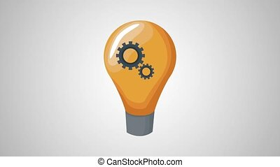Bulb with gears inside HD animation
