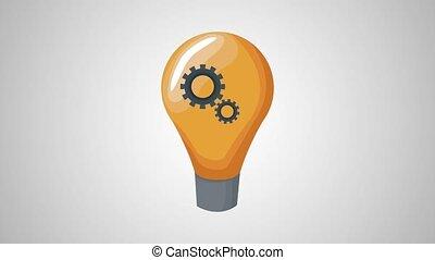 Bulb with gears inside HD animation