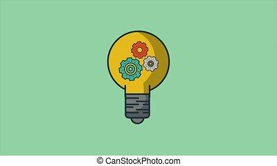Bulb with gears inside HD animation - Bulb with gears...
