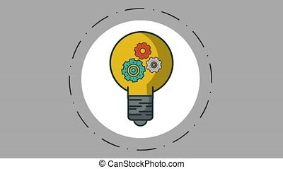 Bulb with gears inside over gray background