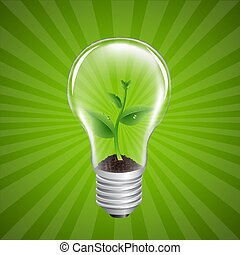 Bulb With Green Sprout Sunburst Background