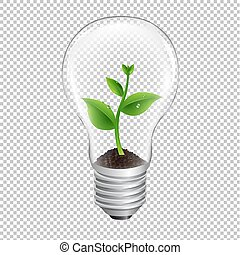 Bulb With Green Sprout Transparent Background