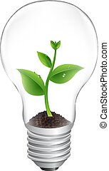 Bulb With Green Sprout White Background