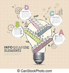 bulb with hand draw stair abstract infographic elements