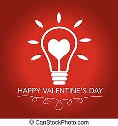 Bulb with heart Idea concept for Happy Valentines Day card...