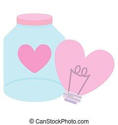 bulb with heart love shape