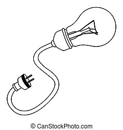 bulb with power cable icon