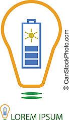 Bulb with solar battery as eco energy sign
