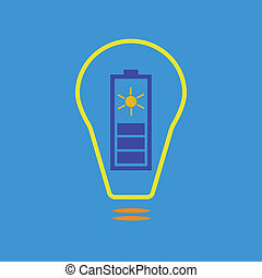 Bulb with solar battery as eco energy sign