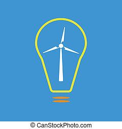 Bulb with wind turbine as eco energy sign