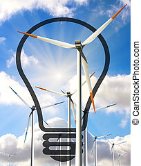 Bulb with windmills, useful for energy concept