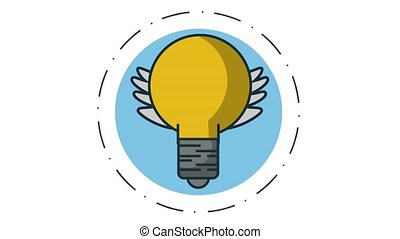 Bulb with wings on round symbol HD animation - Bulb with...