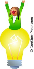 bulb woman - business woman with big ideas - icon people...