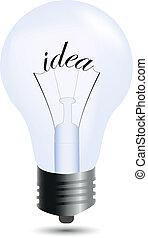 bulbo, bianco, idea, isolato