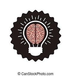 bulbo, cérebro, ícone