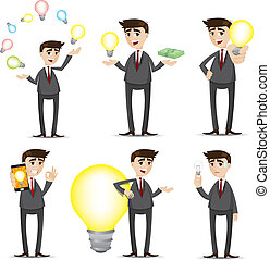 bulbo, cartone animato, set, idea, uomo affari