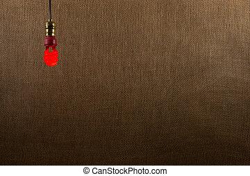 bulbo, cfl, sfondo rosso, appendere