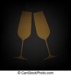 bulbo, champagne, sfavillante, glasses., illustration., piccolo, griglia, luce, arancia, darkness., icona