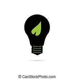 bulbo, com, folha verde, vetorial