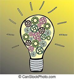 bulbo, concetto, idea, disegno