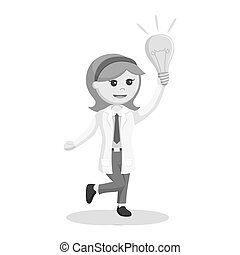bulbo, donna, scienziato, idea