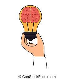bulbo, educação, luz, ícone, cérebro