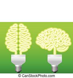 bulbo, energia, vetorial, cérebro