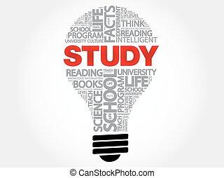 bulbo, estudo, palavra, nuvem