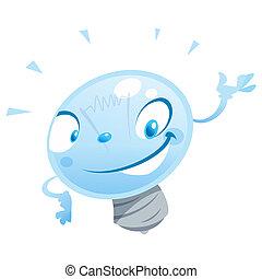 bulbo, feliz, personagem, apresentando, caricatura