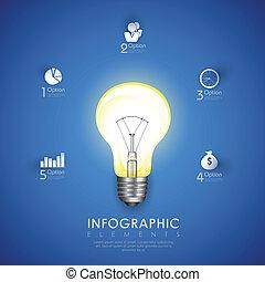 bulbo, grafico, potere, infographics