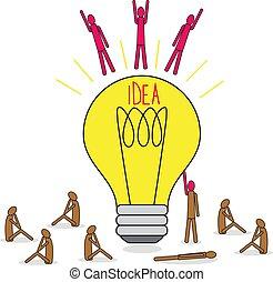 bulbo, gruppo, lamp., sitting., intorno, grande, luce, idea, volare, brainstorming., persone