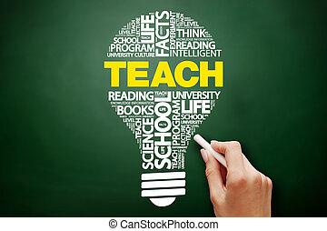 bulbo, insegnare, parola, nuvola