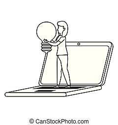 bulbo, laptop, mulher, jovem, trabalhando