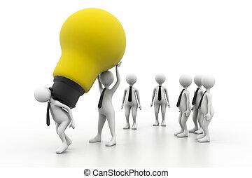 bulbo, lavoro squadra, idea, luce