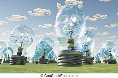 bulbo leve, cabeças, e, símbolo dólar, nuvens