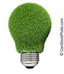 bulbo leve, coberto, com, verde, grass.