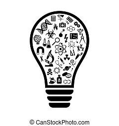 bulbo leve, com, ciência, ícones