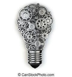 bulbo leve, e, gears., perpetuum, móvel, idéia, concept.