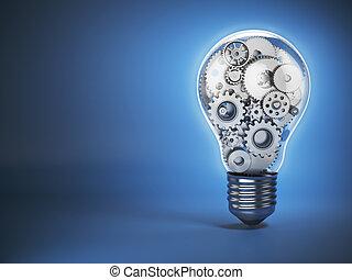 bulbo leve, e, gears., perpetuum, mobile., inovação, criatividade, e, idéia, conceito, experiência.