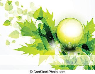 bulbo leve, e, verde sai, conceito