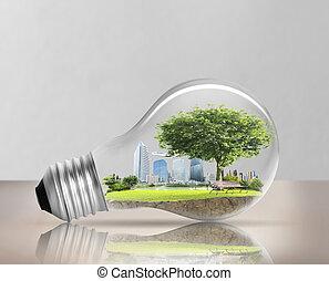 bulbo leve, energia alternativa, conceito