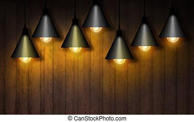 bulbo leve, girado, on., lâmpada
