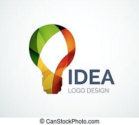 bulbo leve, logotipo, desenho, feito, de, cor, pedaços