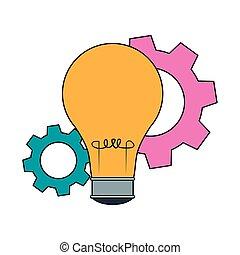 bulbo, luz, coloridos, desenho, ícone, rodas, engrenagem